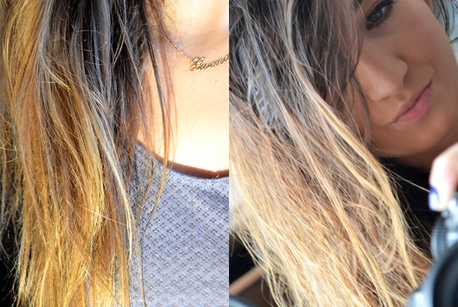 Coloration blonde sur cheveux bruns colores